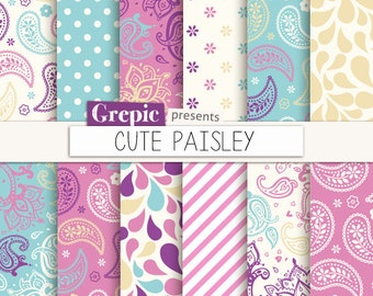 """Paisley digital paper: """"CUTE PAISLEY"""" in pink, turquoise, purple, paisley pattern, background, sweet, curly, swirls, drops, floral, girly"""