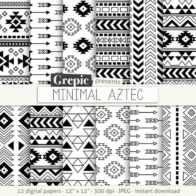 Aztec Digital Paper Minimal Aztec Aztec Patterns Etsy