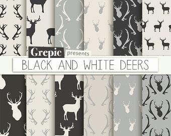 """Deer digital paper: """"BLACK & WHITE DEERS"""" with woodland deers patterns, antlers, forest, reindeer, holidays, christmas, black white antler"""