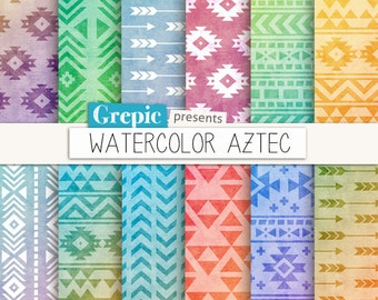 "Aztec digital paper: ""WATERCOLOR AZTEC"" patterns, tribal backgrounds, colorful, geometric, native, triangles, arrows, pop, neon, gradients"