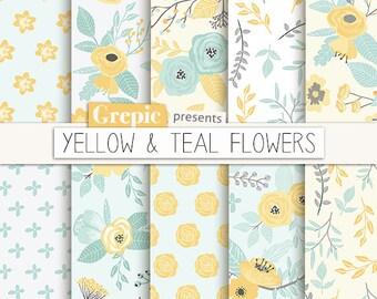 "Spring digital paper: ""YELLOW & TEAL FLOWERS"" vintage flowers, floral paper, floral background, flower pattern, garden, spring, yellow green"