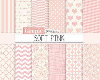 "Pink digital paper: ""SOFT PINK"" light pink digital paper with girly chevron, polkadots, stripes, dots, arrows, damask, quatrefoil, hearts"
