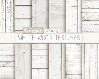 """White wood digital paper: """"WHITE WOOD TEXTURES"""" with rustic wood texture and distressed wood grain in white, beach wood background planks"""