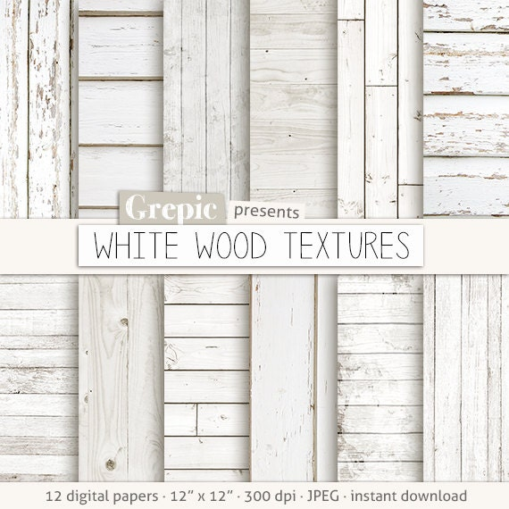 White Wood Digital Paper WHITE WOOD TEXTURES With