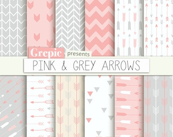 """Arrows digital paper: """"PINK & GREY ARROWS"""" backgrounds with pink gray arrow patterns, tribal archery, triangles backgrounds in pink gray"""
