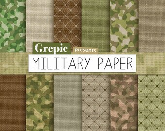 """SALE 50% Military paper pack: """"MILITARY PAPER"""" with army & military papers, green linen and camouflage patterns for scrapbooking,"""