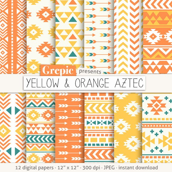 Aztec Digital Paper YELLOW ORANGE AZTEC Aztec Etsy Extraordinary Aztec Pattern