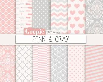 "Pink gray digital paper: ""PINK & GRAY"" pink grey sweet baby girl patterns - chevron, polkadots, stripes, damask, quatrefoil, arrows, hearts"