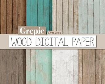 "Wood digital paper: ""WOOD DIGITAL PAPER"" with rustic wood texture and distressed wood grain in teal, brown, grey, digital wood background"