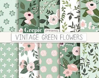 """Green digital paper: """"VINTAGE GREEN FLOWERS"""" floral, flowers, patterns, floral background, flower digital paper, pink green, backgrounds"""
