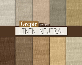 """SALE 50% Linen digital paper: """"LINEN NEUTRAL"""" with natural earth tone linen / canvas texture in brown, grey, beige for scrapbookin"""