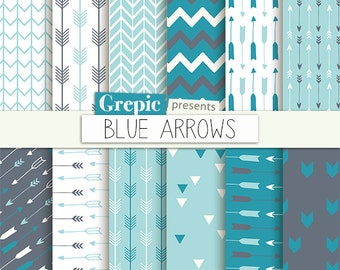"""Arrows digital paper: """"BLUE ARROWS"""" backgrounds with arrow patterns, tribal archery, triangles backgrounds in blue, teal, turquoise colors"""