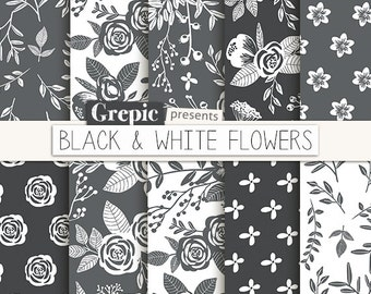 Floral Digital Paper BLACK WHITE FLOWERS Vintage Flowers Hand Drawn
