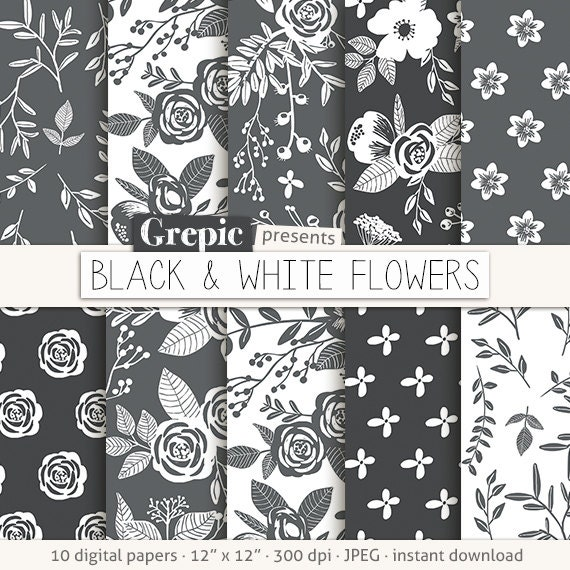 Floral digital paper black white flowers etsy image 0 mightylinksfo