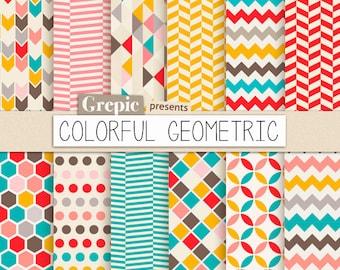 "Geometric digital paper: ""COLORFUL GEOMETRIC"" digital paper pack with happy colorful geometric patterns for scrapbooking, invites, cards"