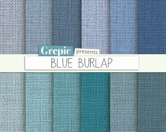 """SALE 50% Burlap digital paper: """"BLUE BURLAP"""" with burlap / canvas / linen textures in bright blue and turquoise / teal shades 