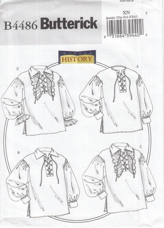 Butterick 4486 historische Hemden Schnürung vorne Kragen