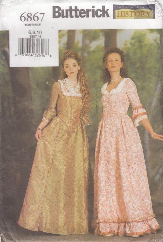 Butterick 6867 Colonial Gown Boned Back Laced Closure Late