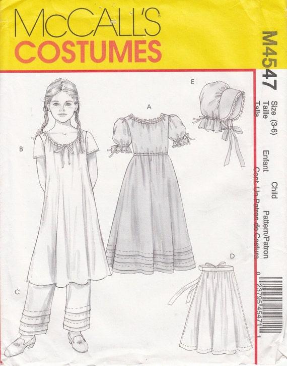 McCalls 4547 Prairie Dress Chemise Pantaloons Apron Bonnet | Etsy