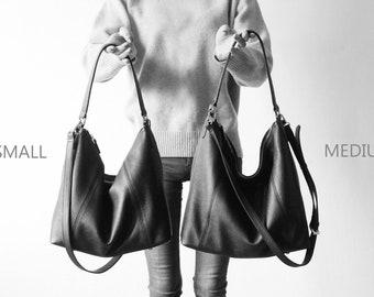 f12edfd6463 PRE-ORDER  Black Leather Hobo Bag   Shoulder Bag   Crossbody Bag -