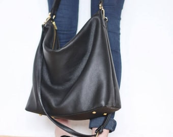 PRE-ORDER >>> NELA - Leather Hobo Bag (Medium) - Black