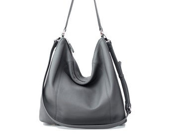 PRE-ORDER >>> NELA - Leather Hobo Bag (Medium) - Dark Grey