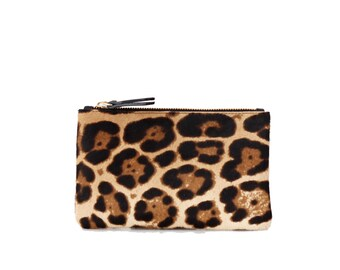 Leather Wallet Clutch / Leather Pouch - LEOPARD