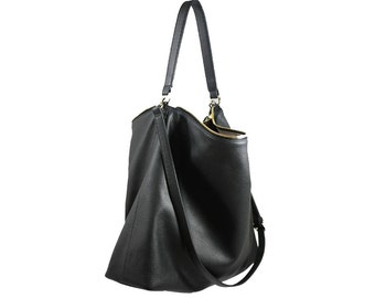 PRE-ORDER >>>  NELA - Leather Hobo Bag (Large) - Black