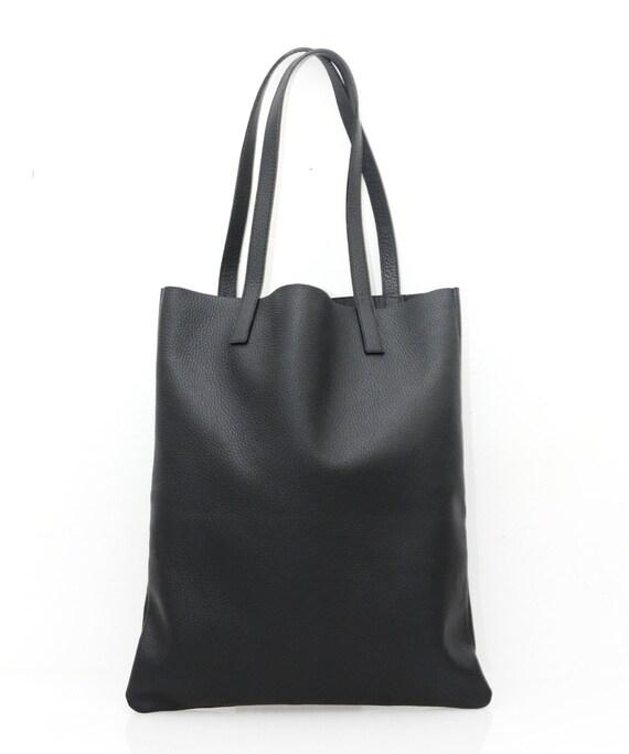 99f2130a76b9 PRE-ORDER  Black Leather Tote Bag Shopper Bag Shoulder Bag