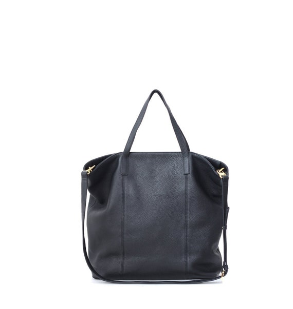 Black Top Zipper Leather Tote Bag Oversized Carryall Tote   Etsy 38aad74139