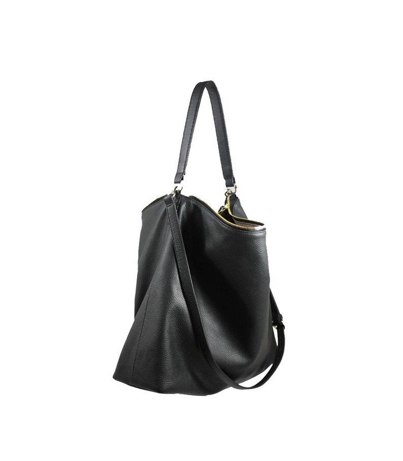 6591bc89d0d4 Black Leather Hobo Bag Large Shoulder Bag Crossbody Bag