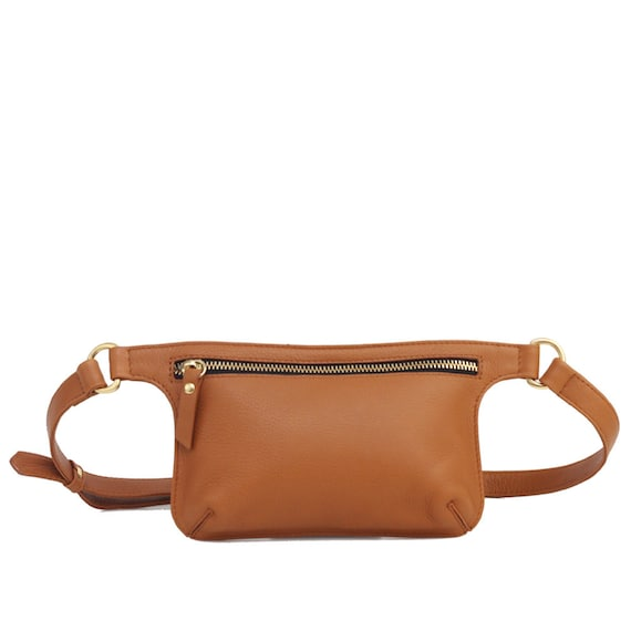 8f2b875de391 Camel Brown Leather Belt Bag Waist Bag Fanny Pack