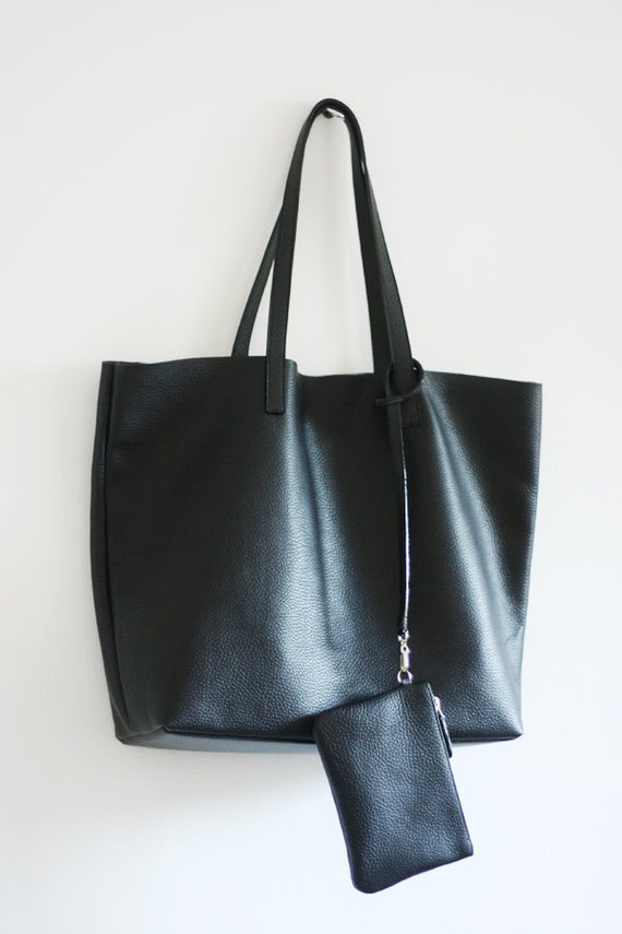 33b7b3b54d8a LILA Leather Tote Bag Basic Minimal Leather Tote Bag