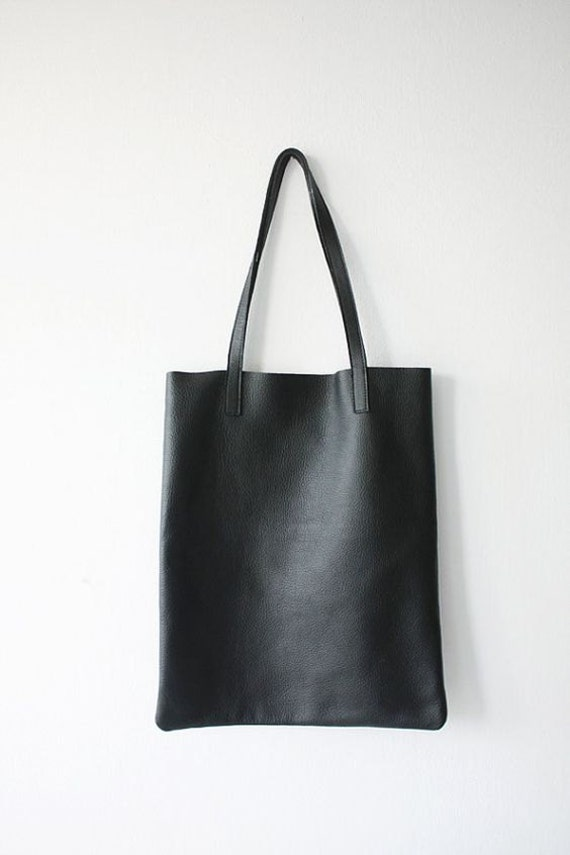 PRE-ORDER  Black Leather Tote Bag Shopper Bag Shoulder Bag   Etsy d36ac4827b