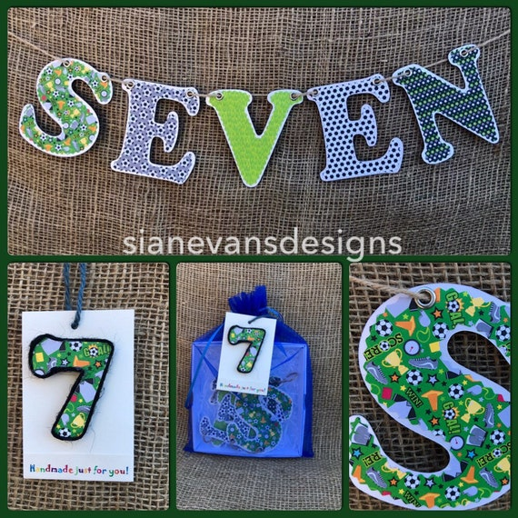 5 Hanging birthday card and pin badge boy birthday bunting age FIVE
