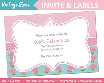 Vintage Rose Invite Pack - Editable Text PDF - INSTANT DOWNLOAD