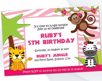 Pink Jungle / Safari Invite Pack - Editable Text PDF - INSTANT DOWNLOAD
