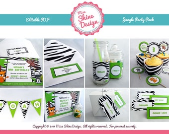 Jungle / Safari Party Pack - Editable Text PDF - INSTANT DOWNLOAD