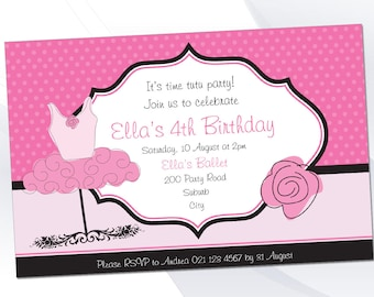 Ballet Invite Pack - Editable Text PDF - INSTANT DOWNLOAD