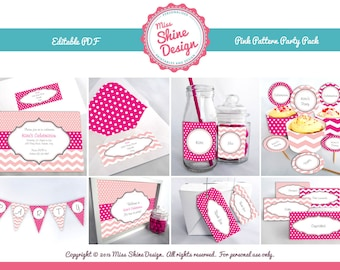 Pink Pattern Party Pack - Editable Text PDF - INSTANT DOWNLOAD
