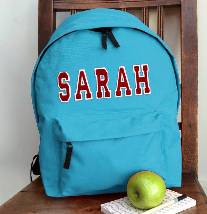 f521d496532a Personalised Applique Name Rucksack Varsity Style Letters