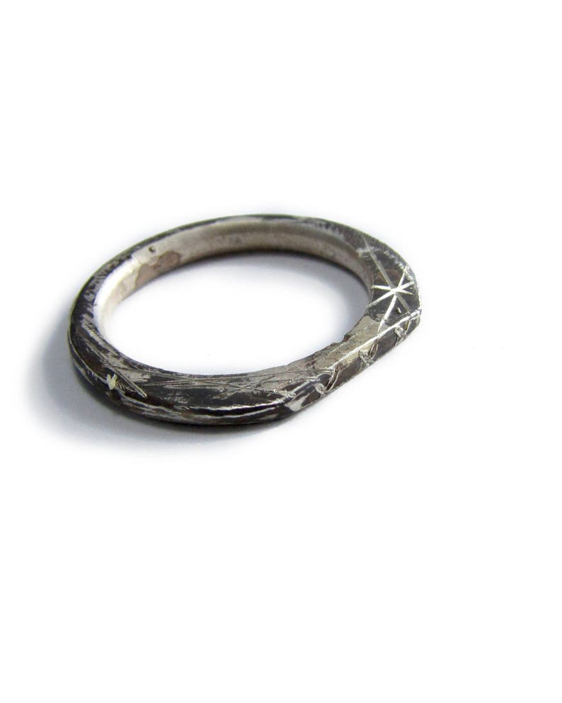 Thin oxidized silver ring Modern unisex band Unusual wedding band Simple engraved ring Modern minimalist stacking ring 14k white gold band