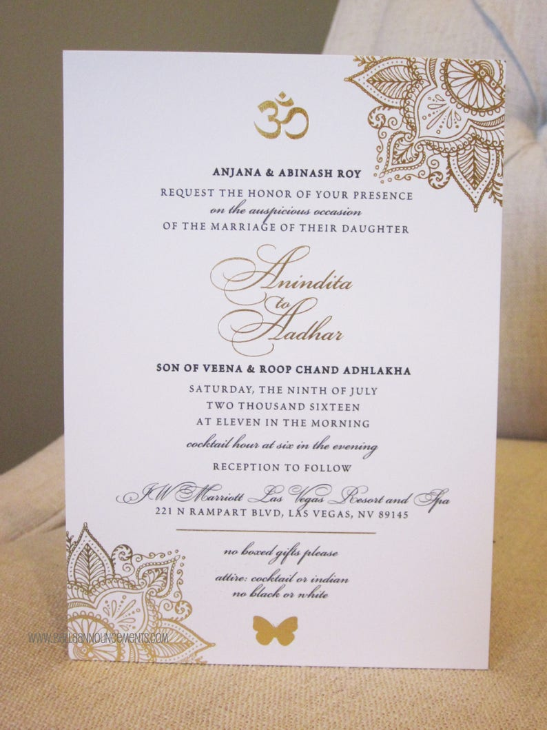 Indian Wedding Invitation / Gold Foil / Indian Fusion / Etsy