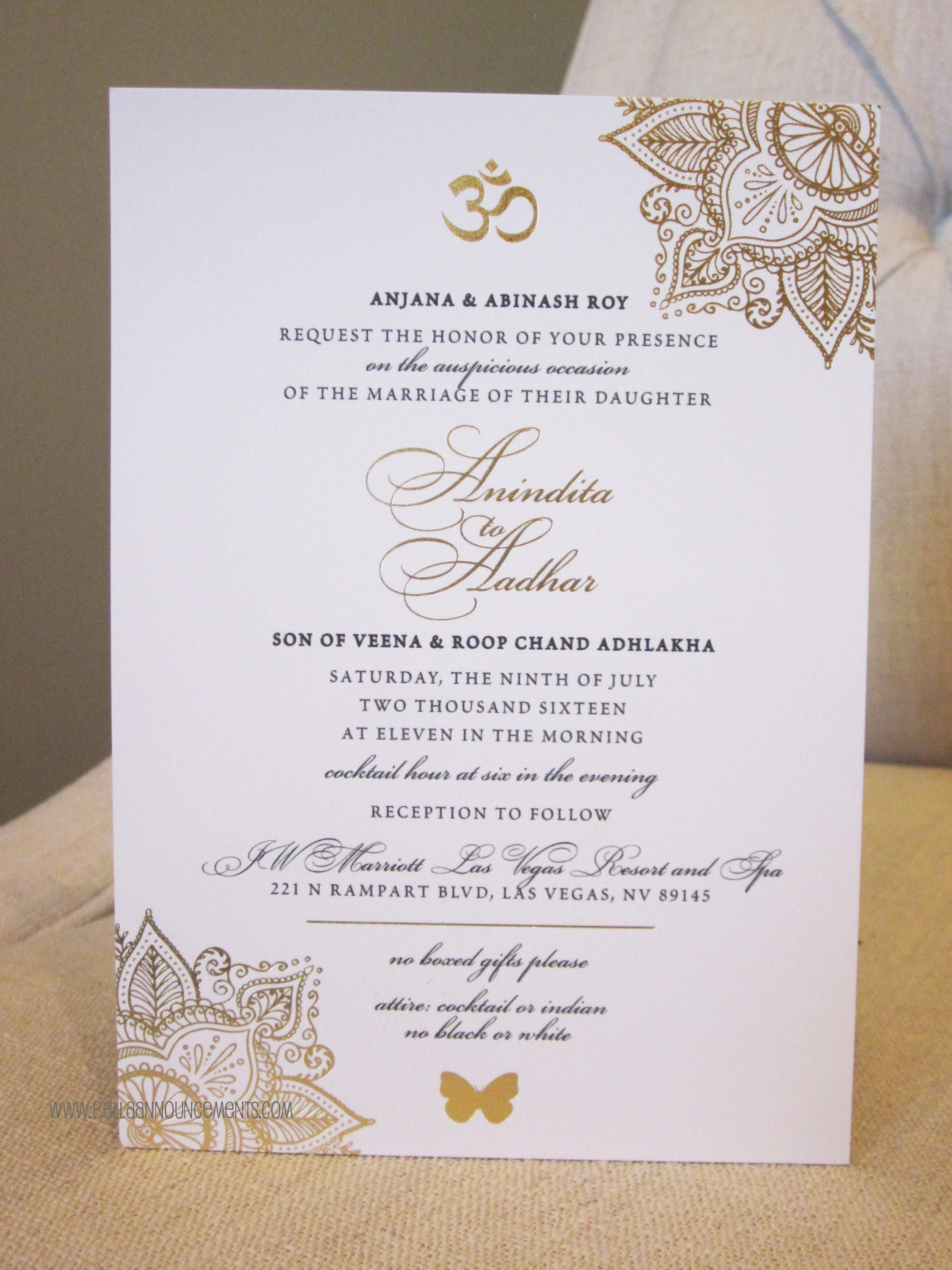 Indian Wedding Invitation / Gold Foil / Indian Fusion /