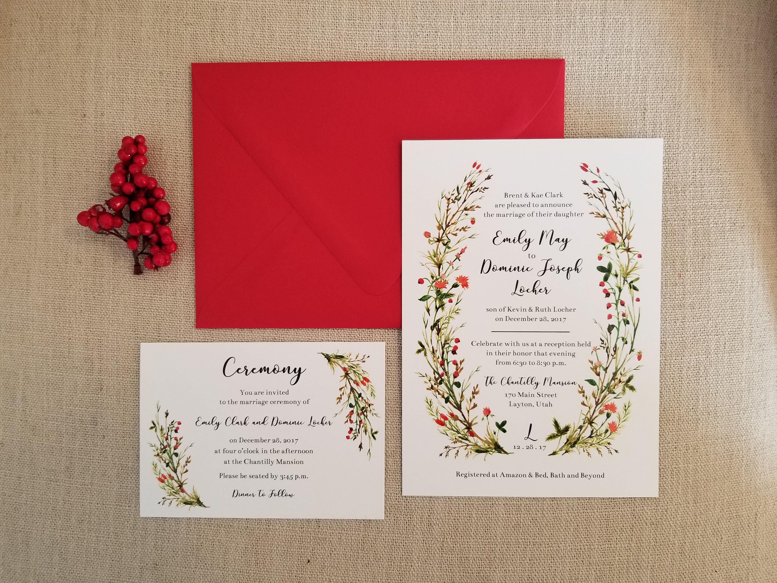 Watercolor Floral Wedding Invitations and RSVP Cards // Wreath | Etsy