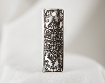 Celtic Art Pendant Etched in Sterling Silver from The Macregol Gospels, Handmade in Ireland.