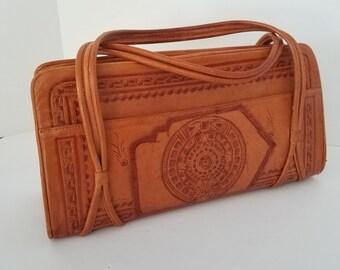 f630d3410 Western Tooled Leather Handbag Purse Vintage Satchel Aztec Floral Footed  Bottom Zippered Pockets Dual Handles Unbranded