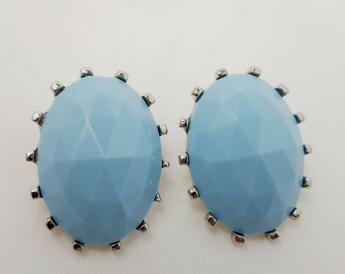 Judy Lee Clip On Earrings Blue Plastic Faceted Dome Silver Tone Retro Look Signed Jewelry