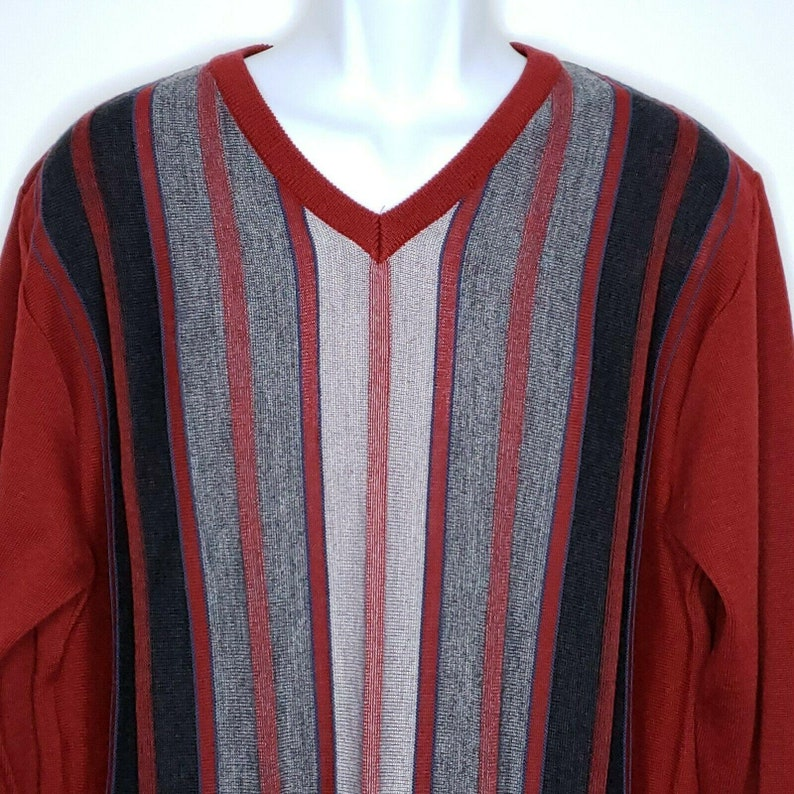 Montechiaro Italy Sweater Mens Large Vintage Red Gray Striped V Neck Wool Blend