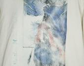 Vintage 90s Anvil XL T-Shirt Long Sleeves Northern Plains Tribal Art Elk Wildlife USA Made